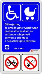 Výtah se zákazem převozu kol