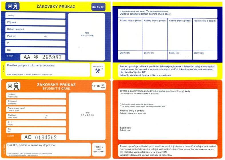 Žákovský průkaz (dvě varianty, přední a zadní strana)