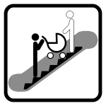 Piktogram jízda po eskalátoru skočárkem