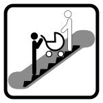 Piktogram jízda po eskalátoru s kočárkem