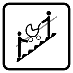Piktogram s kočárkem po pevném schodišti