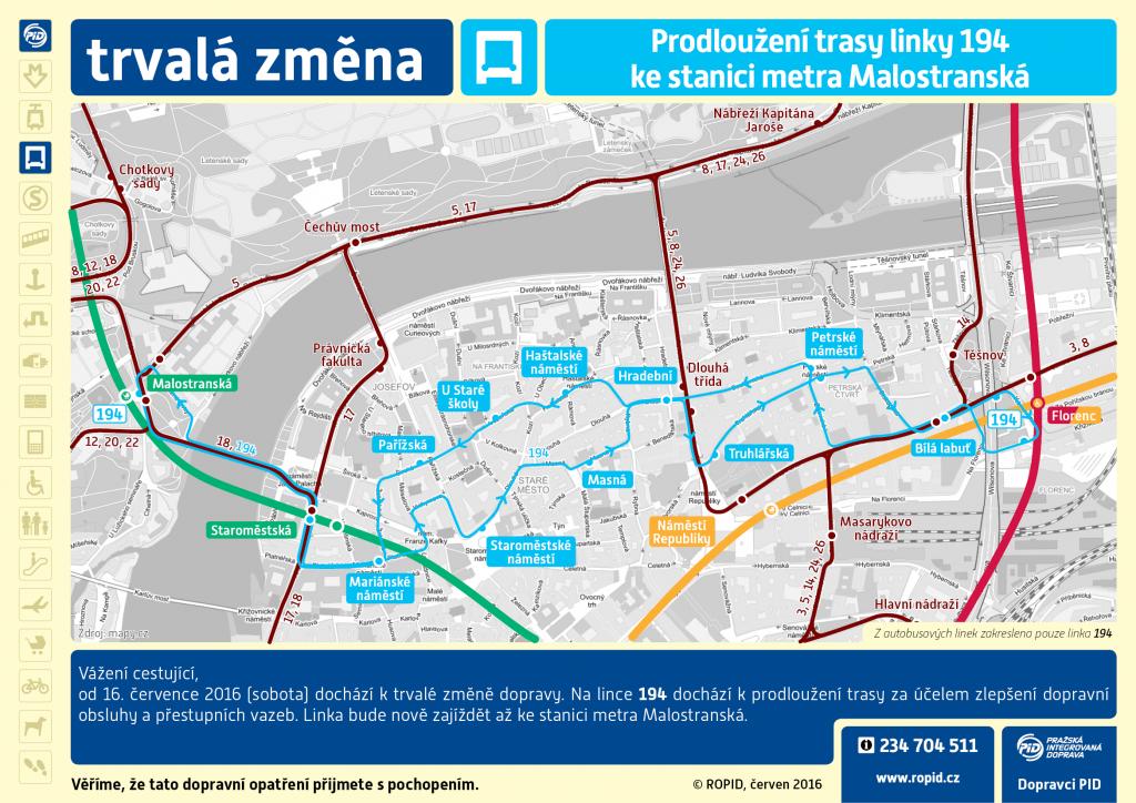 Schéma prodloužení trasy linky.