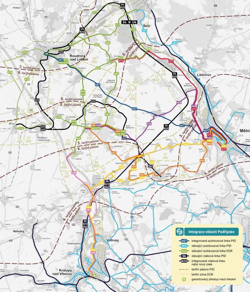 Mapa linkového vedení v oblasti