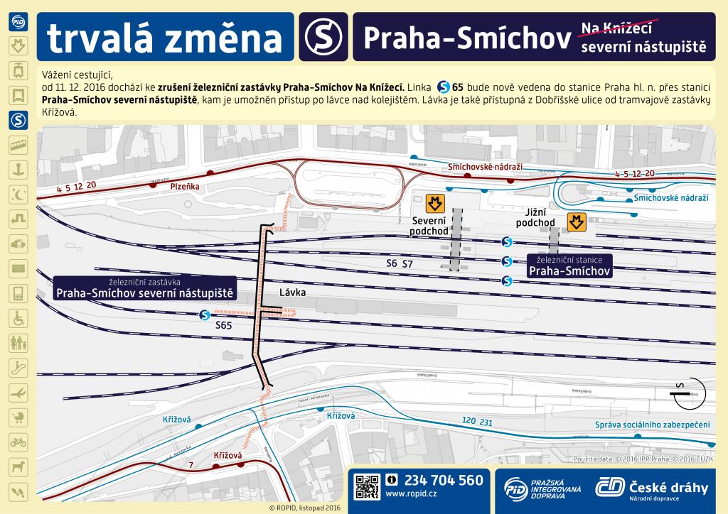 Příchod do zastávky Praha-Smíchov severní nástupiště