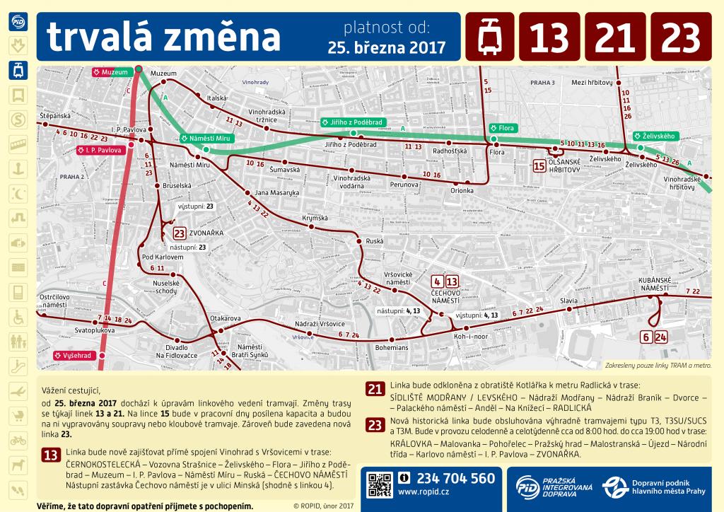 Informace ke změně linkového vedení tramvají