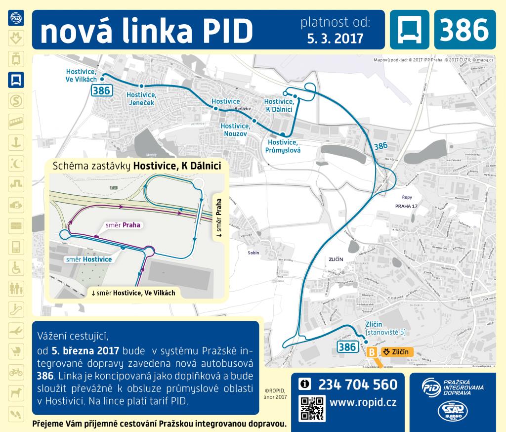 Trasa a zastávky linky 386