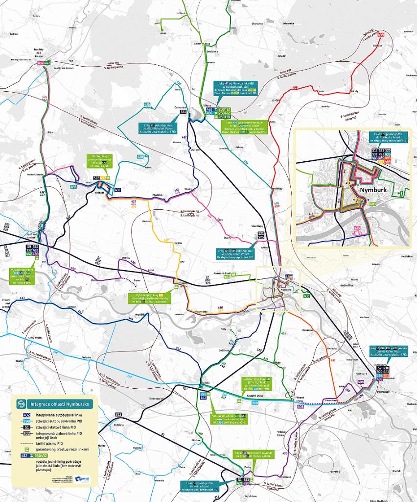Mapa linek v oblasti