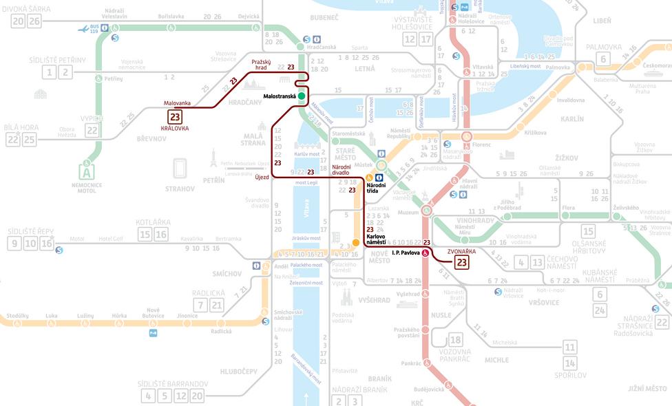 Prague Subway Mapinfo.New Nostalgic Tourist Tram Line 23 In Prague Since 25th March 2017