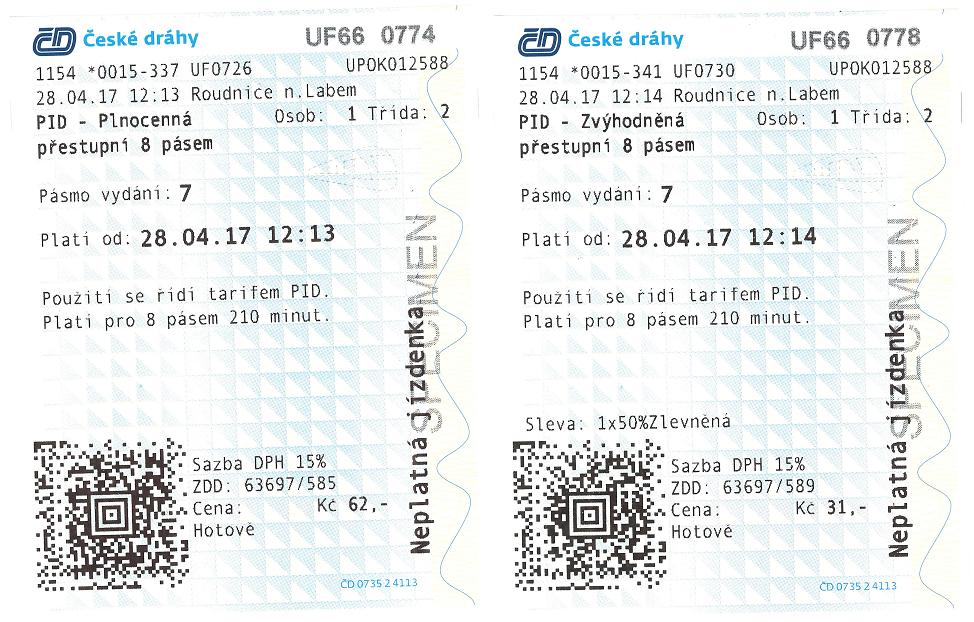 Ukázka zakoupené jízdenky PID
