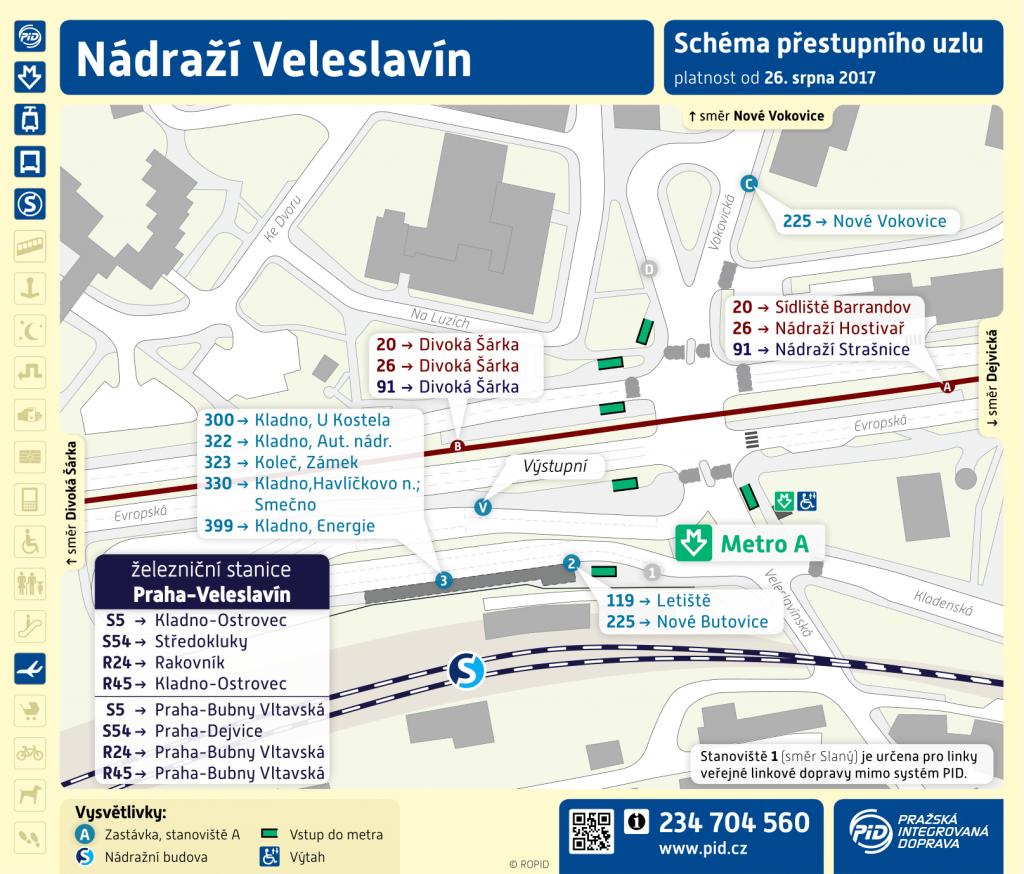 Schéma terminálu Nádraží Veleslavín