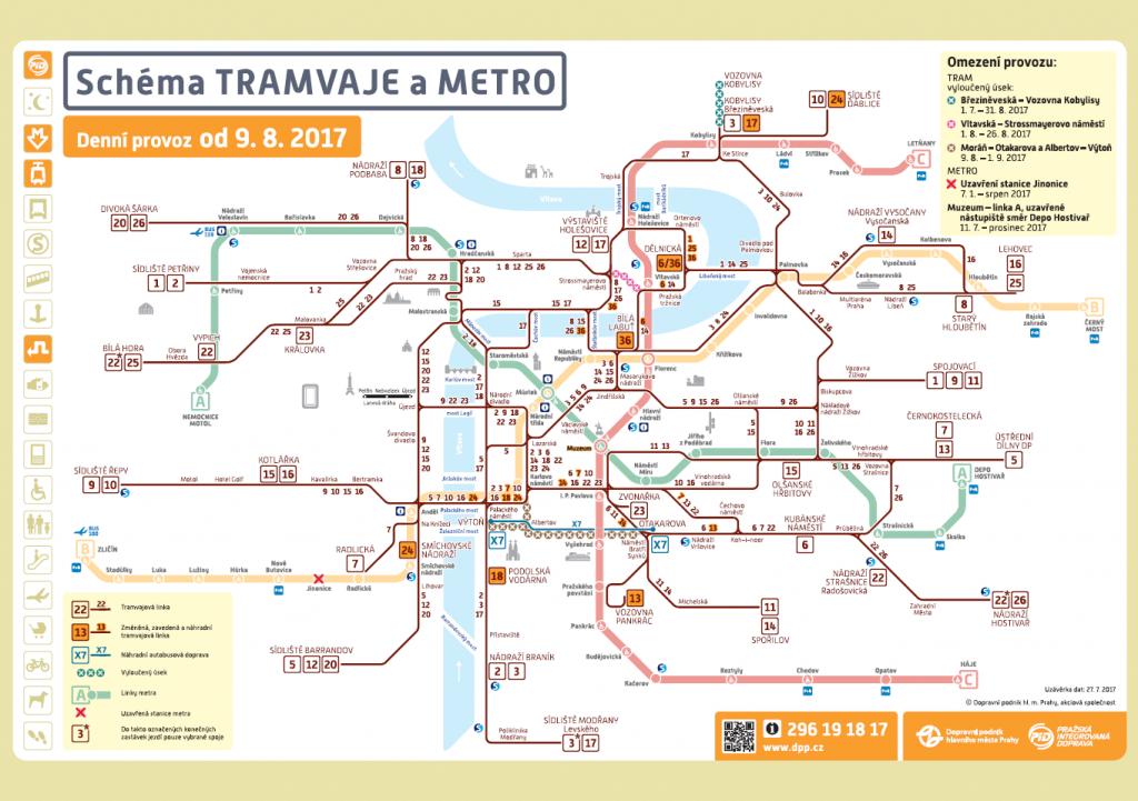 Souhrnné schéma provozu linek metra a tramvají od 9.8.2017