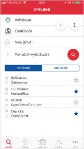 Vyhledání spojení na iOS