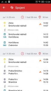 Vyhledávání spojení na Androidu