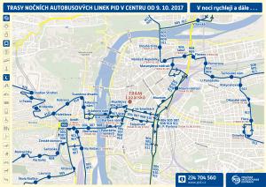 Schéma provozu nočních busů v centru
