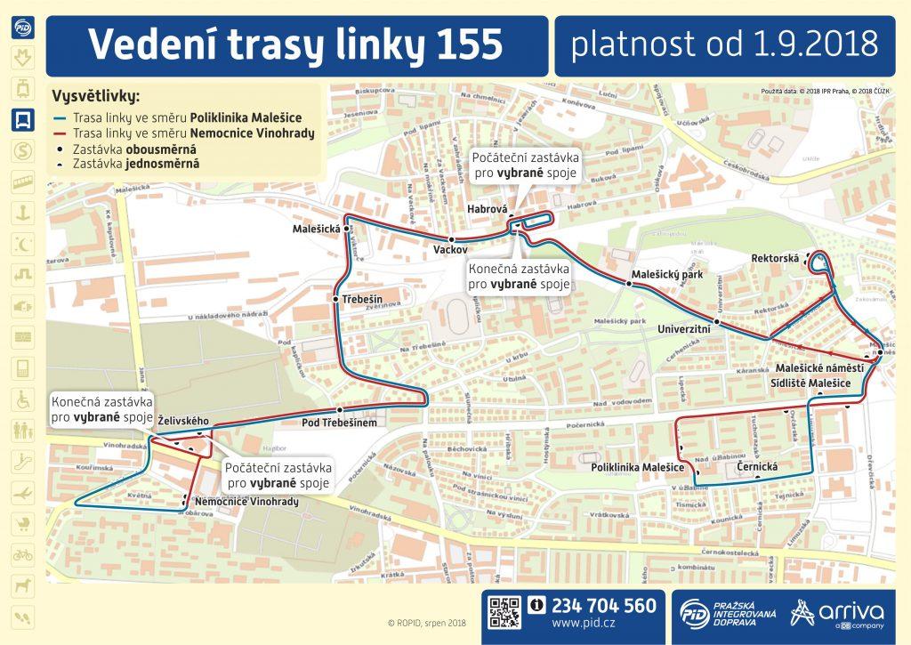 Vedení trasy linky 155
