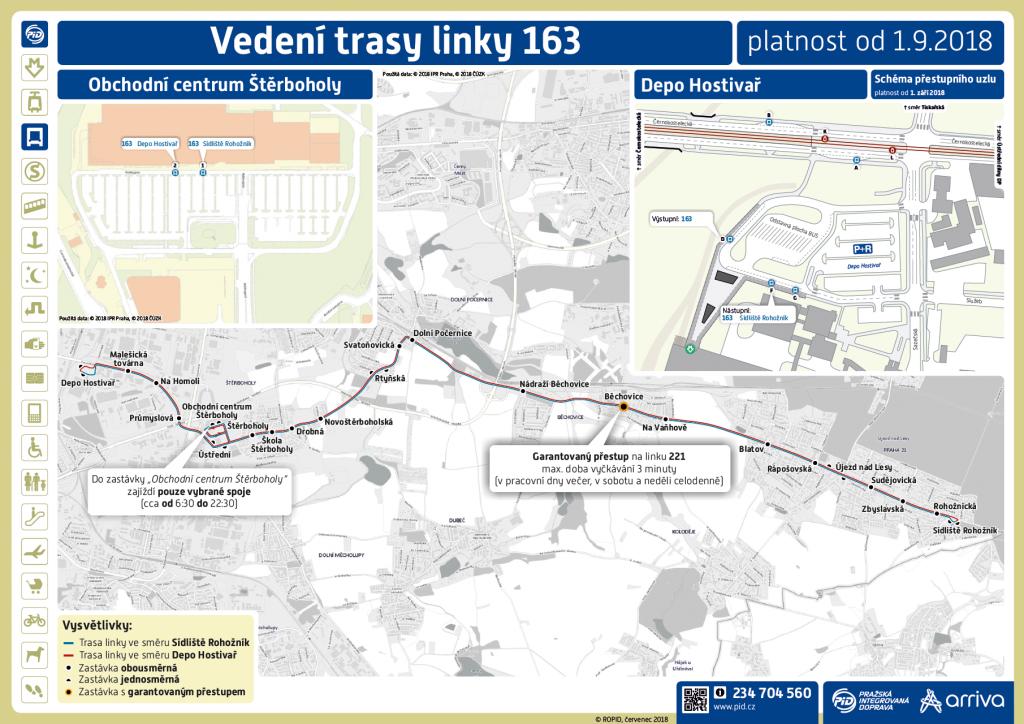 Vedení trasy linky 163