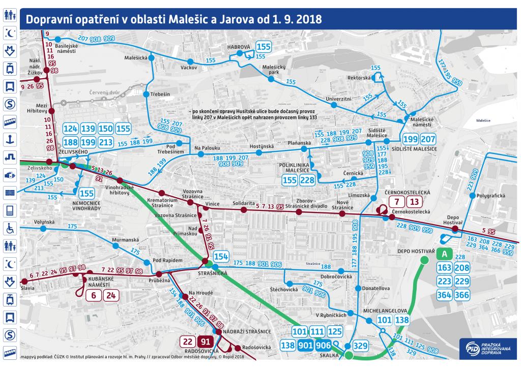 Podrobná mapa dopravního opatření v oblasti Malešic