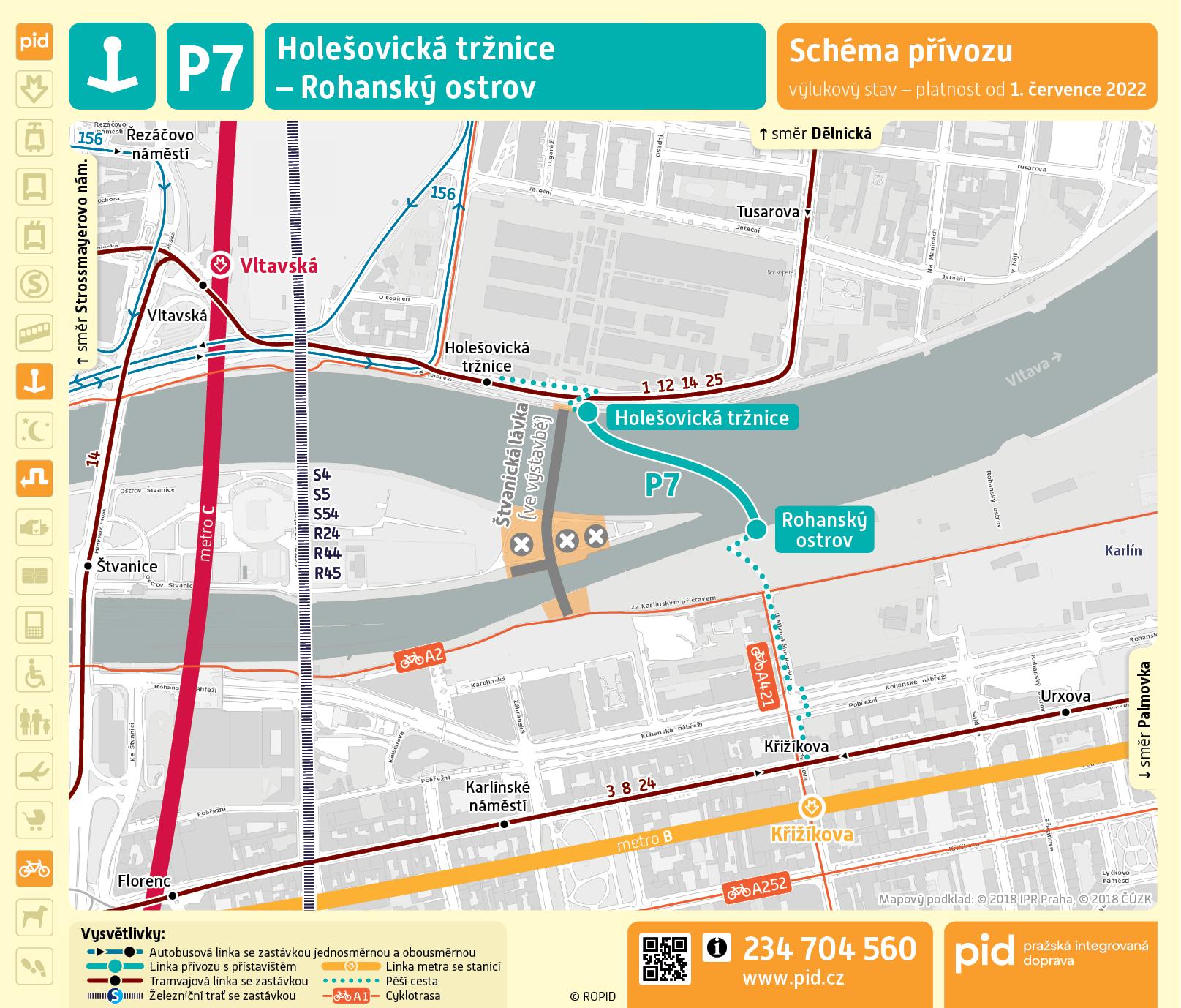 Mapa trasy přívozu P7
