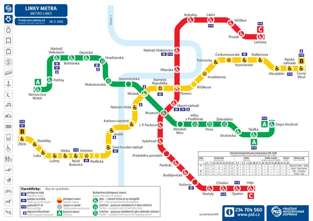 Mapa pražského metra