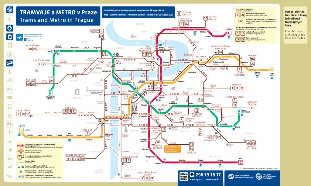 Interaktivní mapa linkového vedení tramvají od 28.8.2016