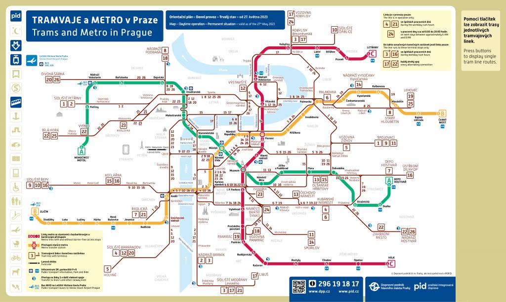 Interaktivní mapa linkového vedení tramvají od 25.3.2017